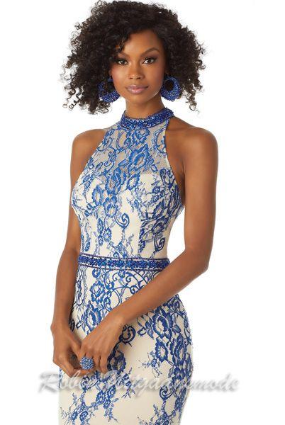 Photo of Spitzen enges Kleid mit halboffenem Rücken in blauem Nude Eng anliegendes Spitzenkleid in …