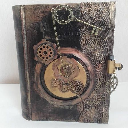 Steampunk - Little book secret stash steampunk by histeamart