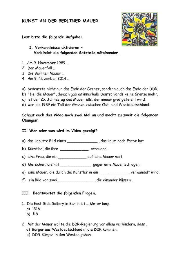 KUNST an der BERLINER MAUER - Arbeitsblatt mit Übungen | DaF mit ...