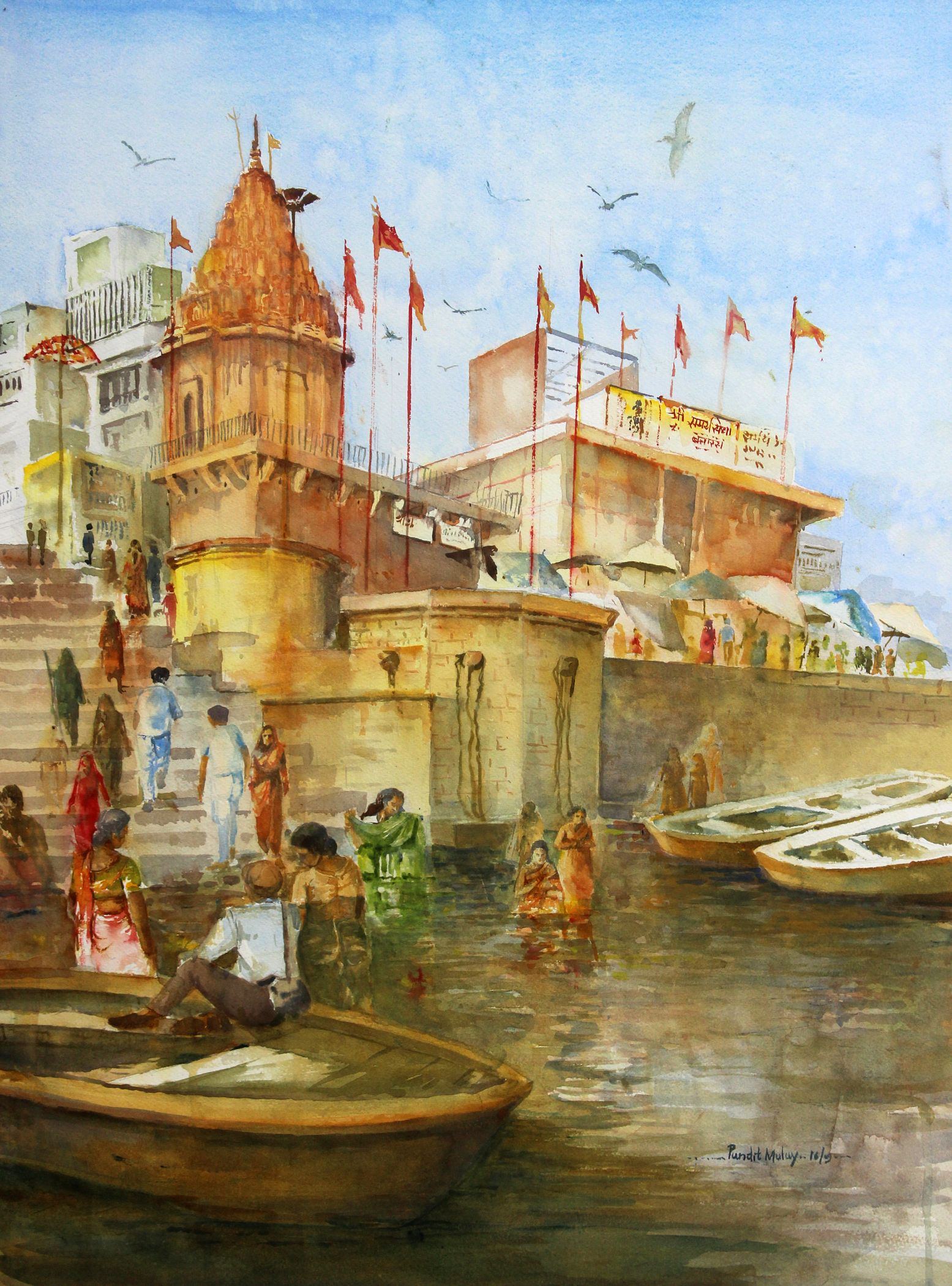 Art farm animal watercolor painting on canvas art 8x10 artsyhome - Banaras Ghat 4 Painting By Artist Pandit Mulay Gallerist
