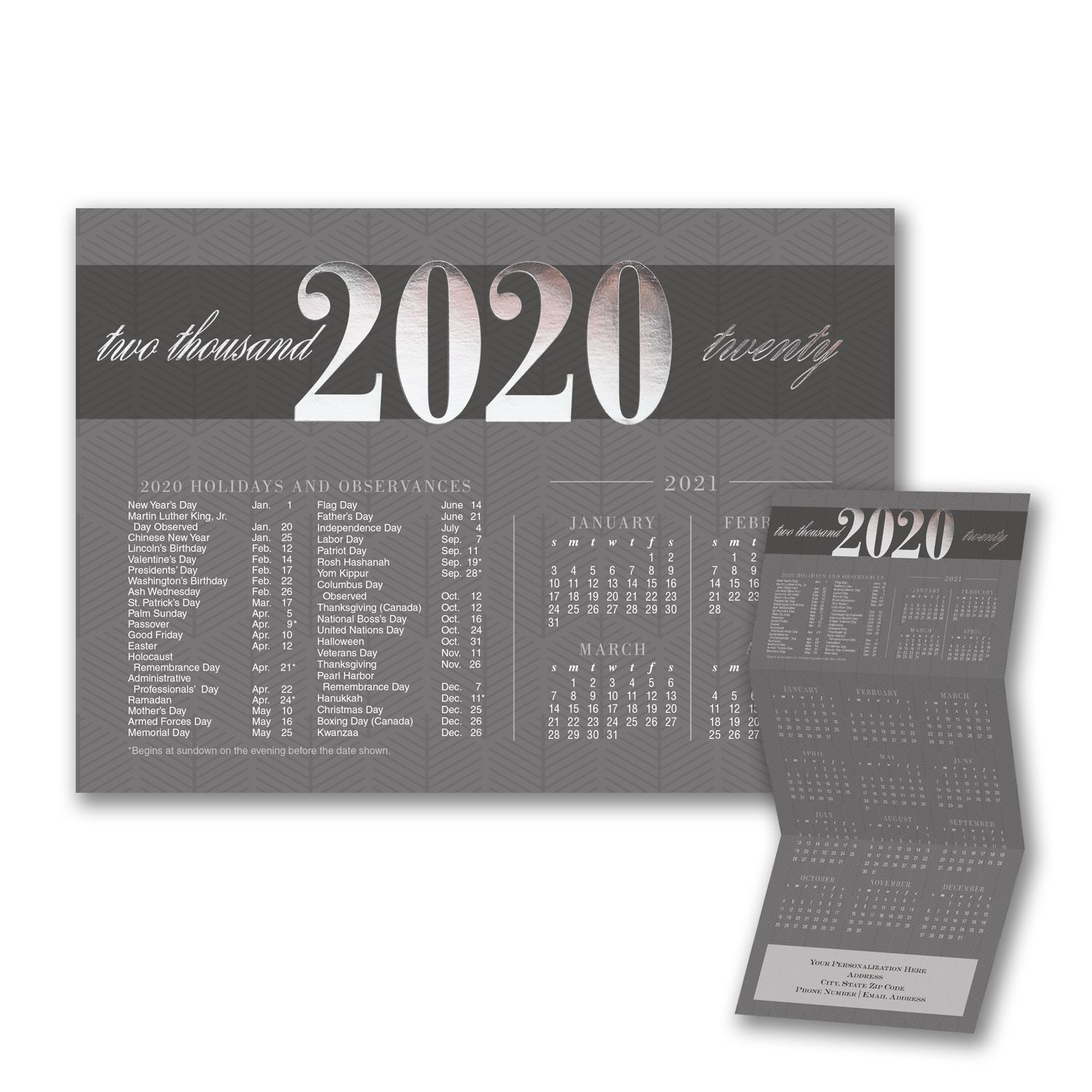 Patterned Observances New year calendar, Holiday
