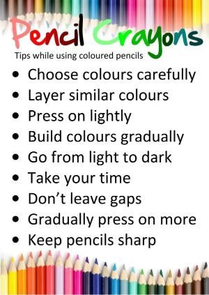 Display Sheet For How To Use Colored Pencils By Wanda Colored