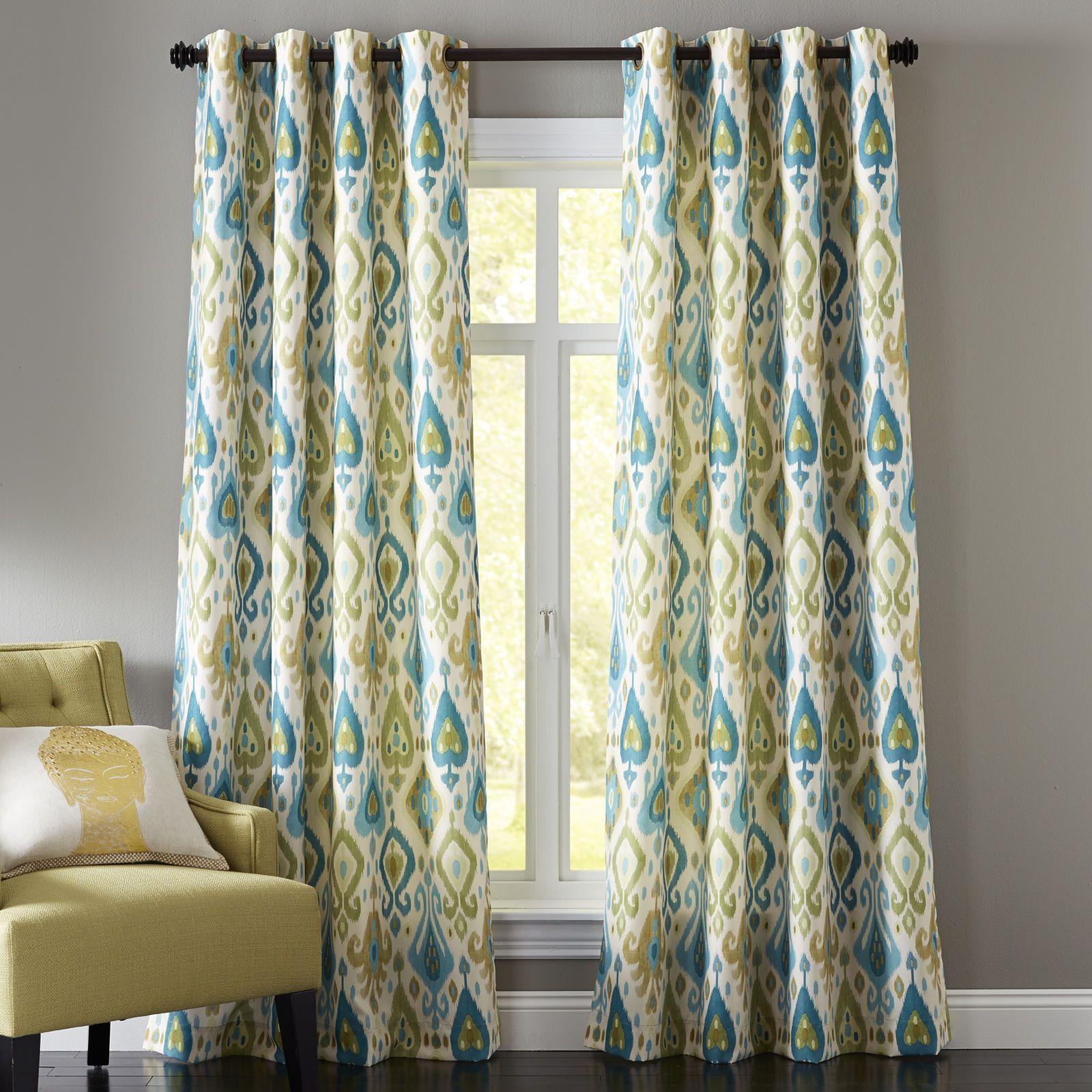 Ikat curtain panels - Ikat Curtain Blue Green Pier 1 Imports