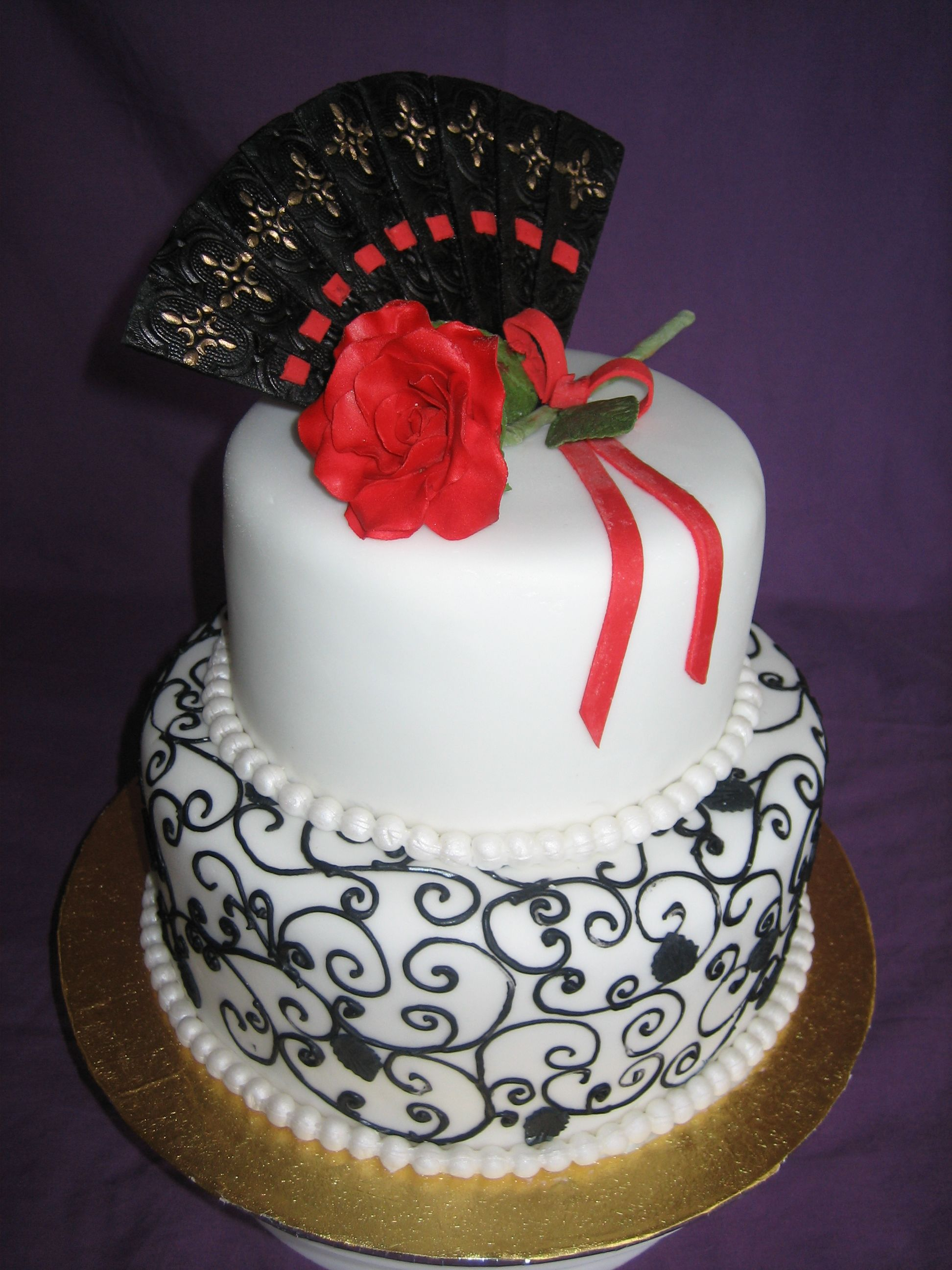 Spanish Fan Rose 2 Tier Mud Cake With Sugarpaste Rose And