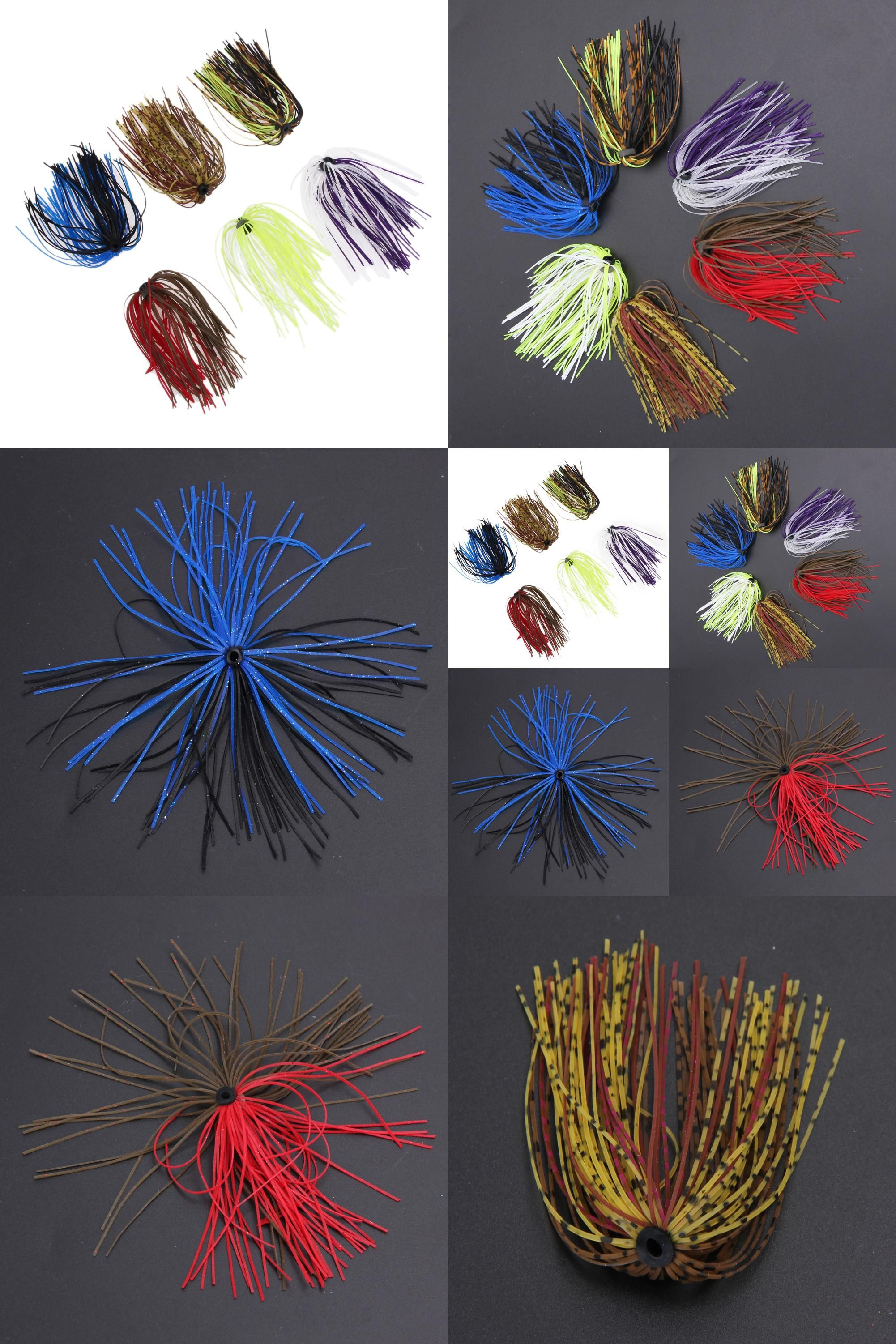6 Bundles Silicone Skirts DIY Salty Rubber Jig Lures Squid Fishing Bait Tool