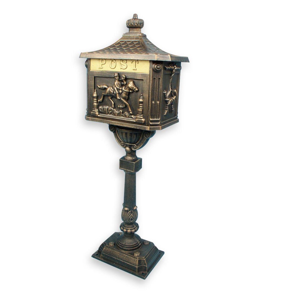 Antiker Briefkasten Standbriefkasten Alu Rostfrei Bronze 111 Cm