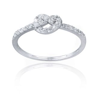 Icz Stonez Sterling Silver Cubic Zirconia Love Knot Promise Ring | Overstock.com Shopping - Big Discounts on ICZ Stonez Cubic Zirconia Rings