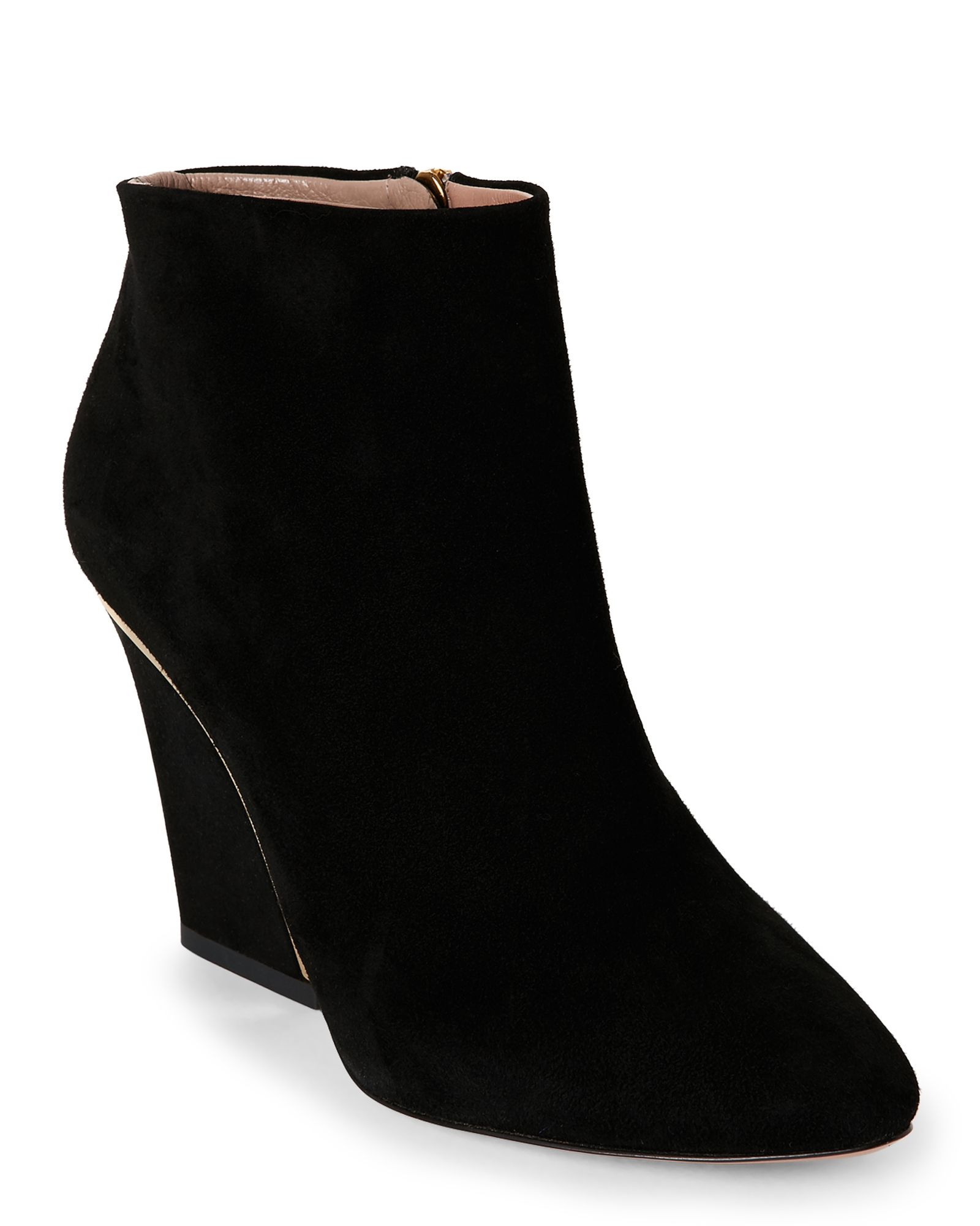 Chloé Black Plated-Heel Suede Ankle Booties