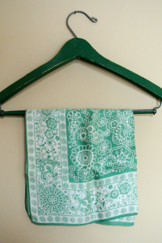 Flowery Mint Green and White Vintage Bandana  by emmadujour, $10.00