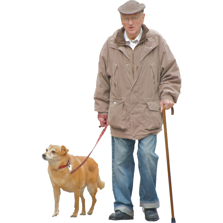 Old Man With Cane And Dog Render People Old Man Walking People Cutout