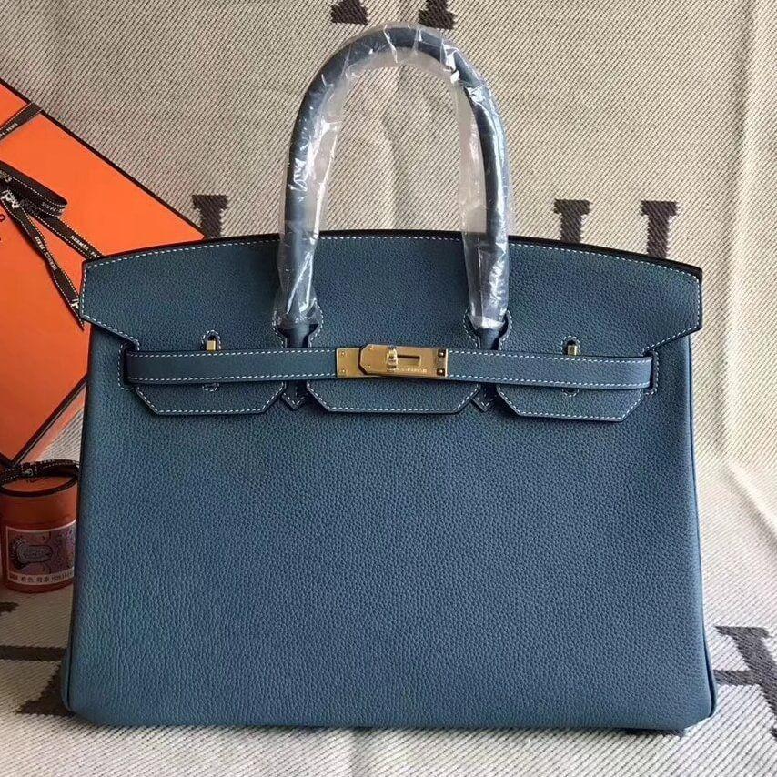 f9619512a407 Hermes Original Togo Leather Birkin 25 30 35 Handbag Aqua Blue (Gole-tone  Hardware)