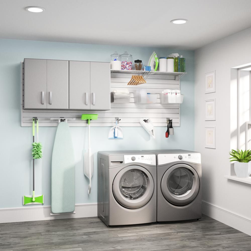 Flow Wall Modular Laundry Room Storage Set With Accessories In
