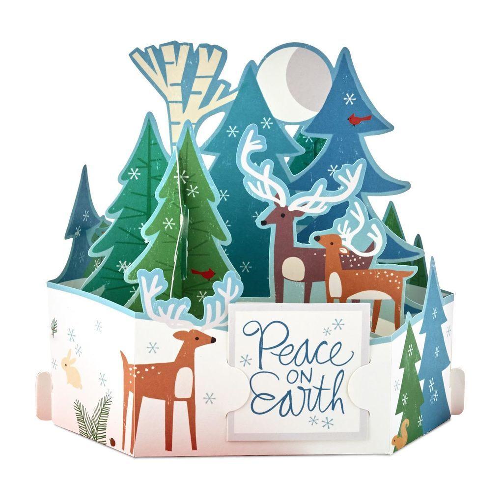 """Moonlit Reindeer Scene Pop Up Christmas Card À¸""""ร À¸ªà¸• À¸¡à¸²à¸ª À¸¨ À¸¥à¸›à¸°"""