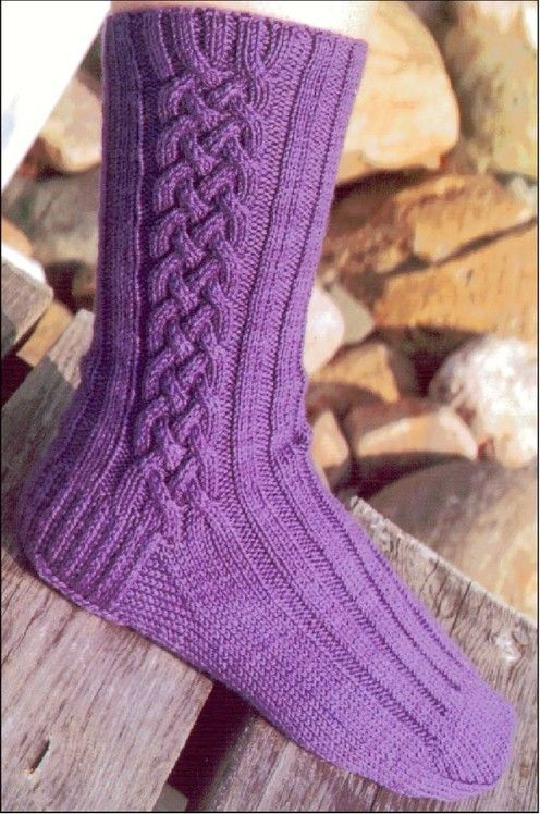 Cabin Fever Lynda Gemmell Celtic Braid Socks Cuff Down Knit