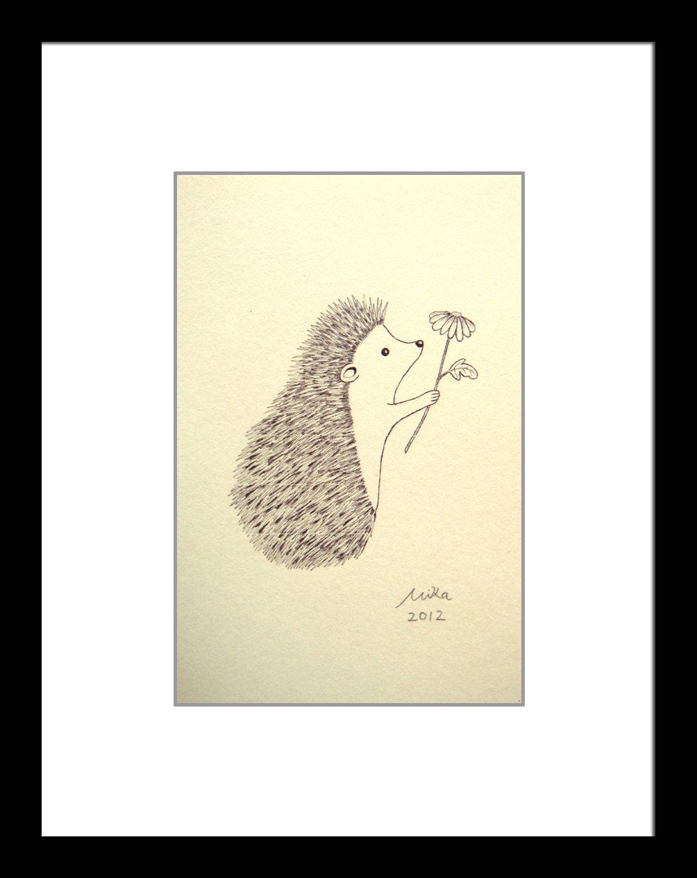 Hedgehog illustration print ink drawing print black u white wall art
