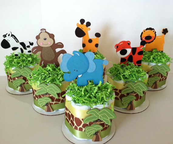 Small safari baby shower diaper centerpieces pablos