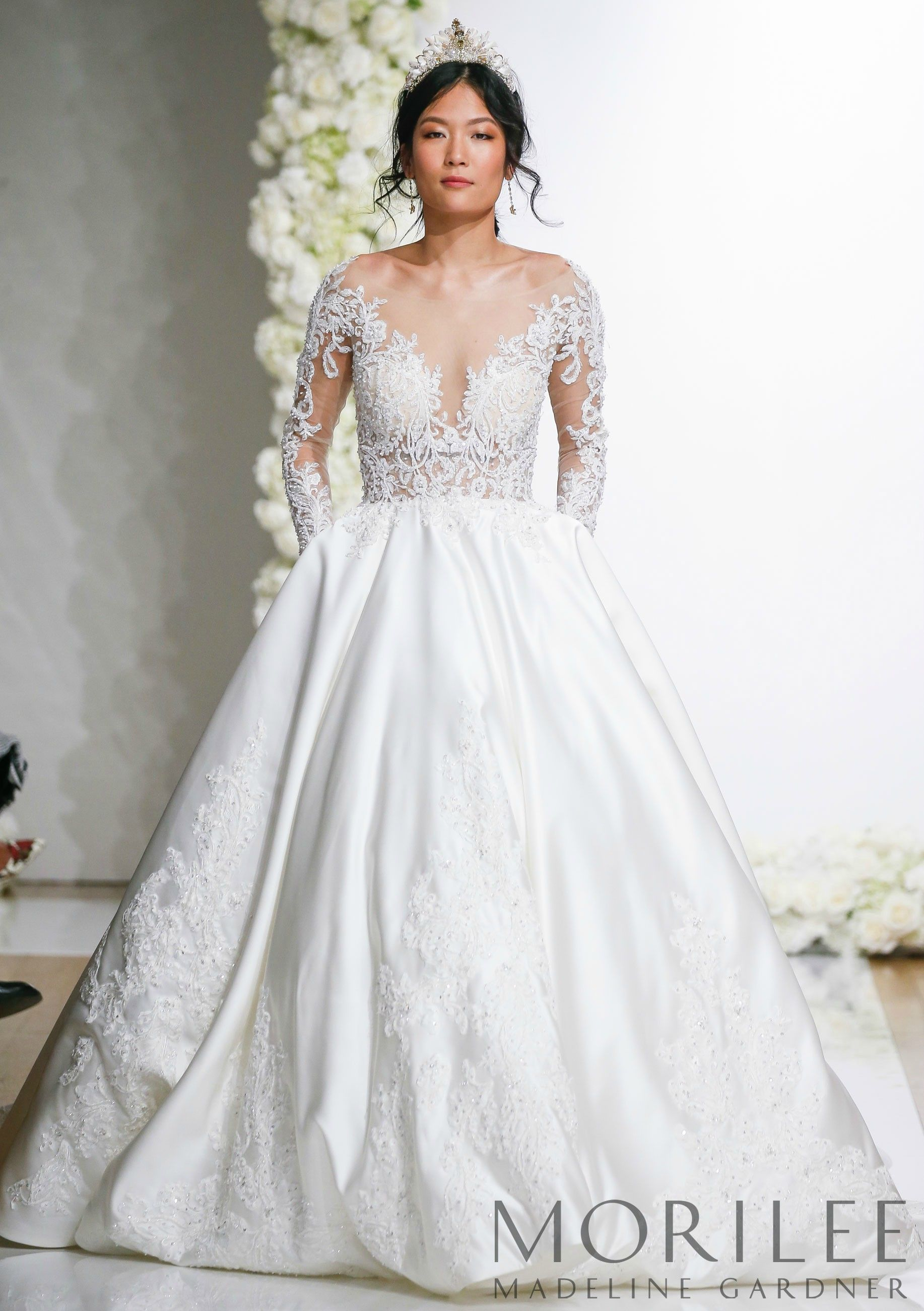 593d34301589 Morilee | Madeline Gardner, Lourdette Style 8297 | Classic Long Sleeve  Duchess Satin Ballgown Featuring an Intricately Beaded and Embroidered Lace  and Net ...