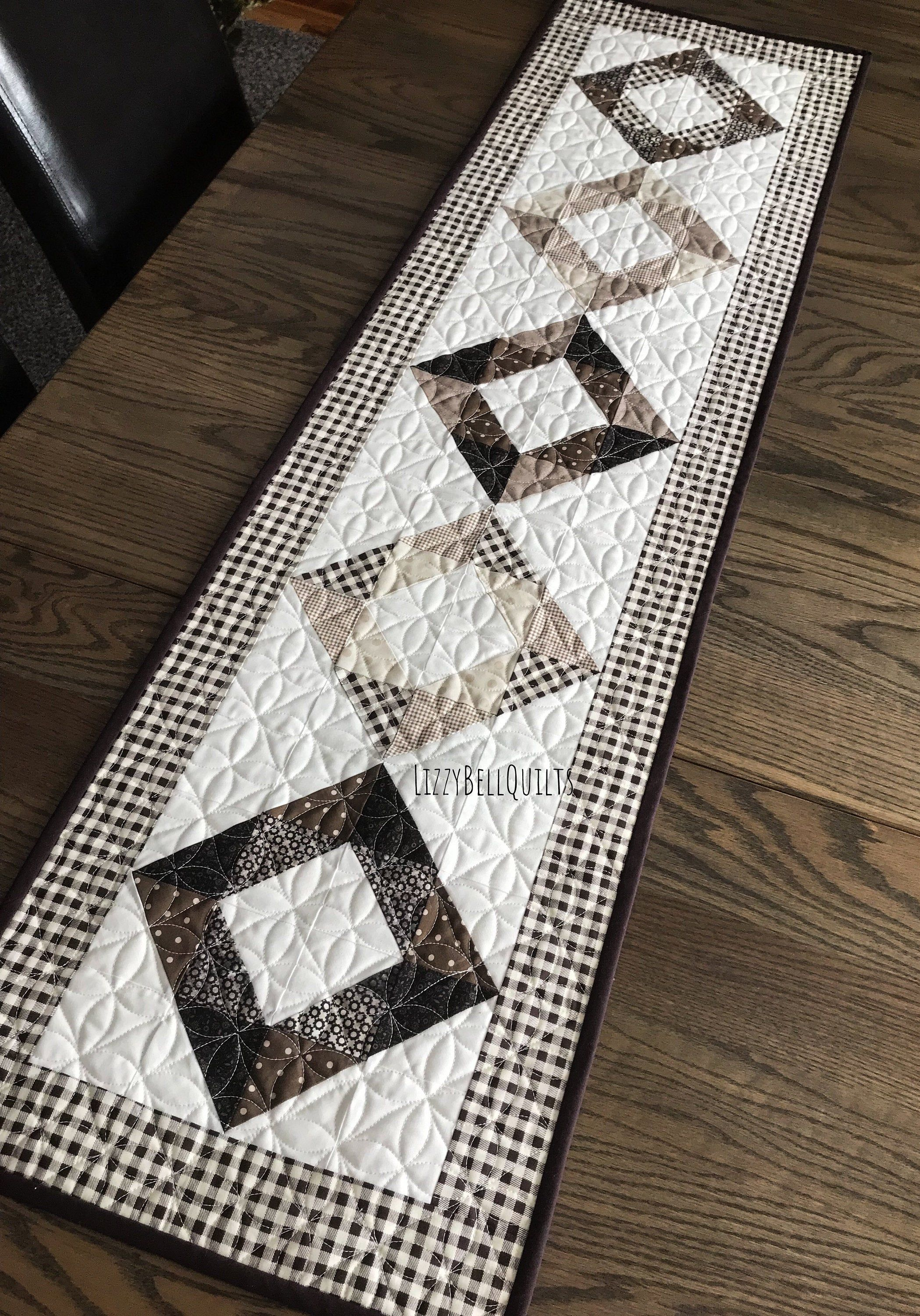 Neutral Quilted Table Runner Cream Brown And Tan Handmade Quilted Table Runners Patchwork Table Runner Quilted Table Runner