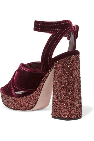 89d6ae2ee052 Miu Miu - Glittered Velvet Platform Sandals - Burgundy | Products ...