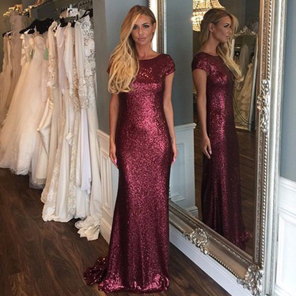 Short sleeve dark red sequin long bridesmaid dresses cheap unique