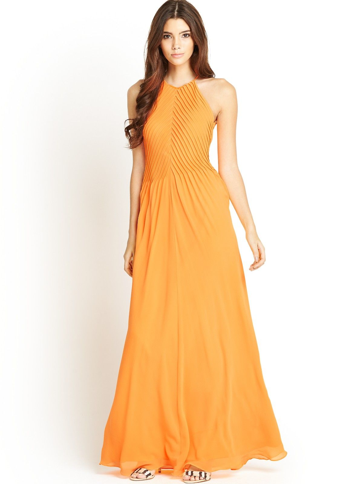 80c53e70863 Ted Baker Corkia Pleated Maxi Dress in Orange (tangerine) | Lyst ...