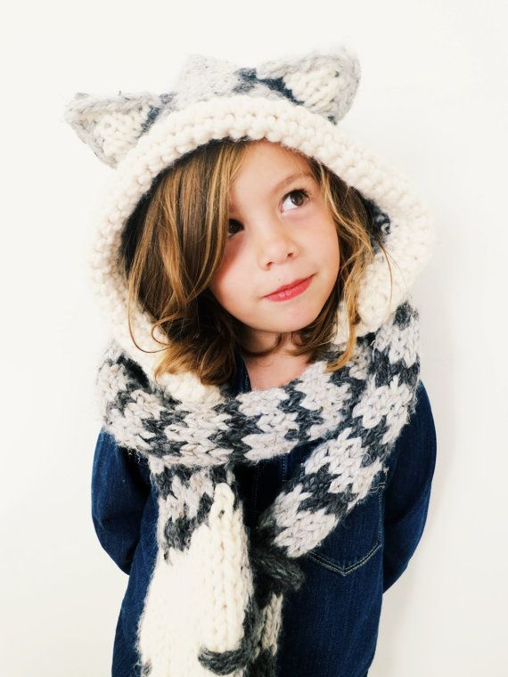 Pattern For Cat Kitten Hat Hood Cowl Scarf Knit Toddler Child Adult