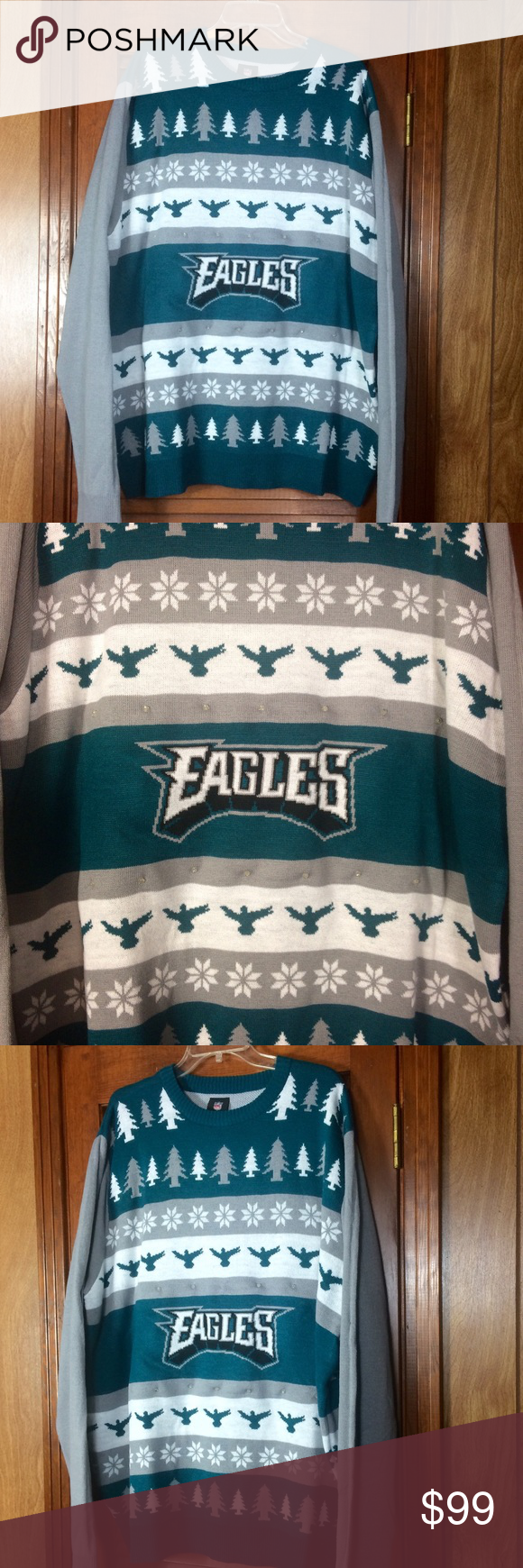 Eagles Nfl Light Up Ugly Christmas Sweater Nwt My Posh Closet