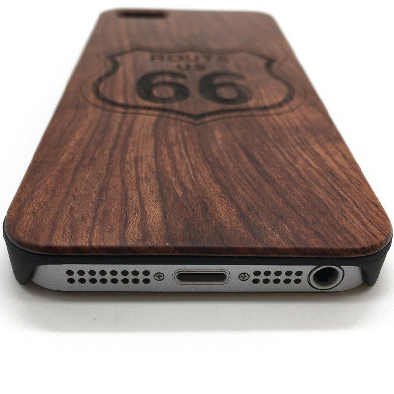 Engrave Route 66 On Wood Phone Case For Iphone 76 Samsung Galaxy
