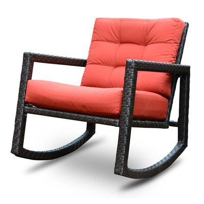 Aura Sunbrella Rattan Rocking Chair With Cushions Rattan Rocking Chair Outdoor Rocking Chairs Patio Rocking Chairs