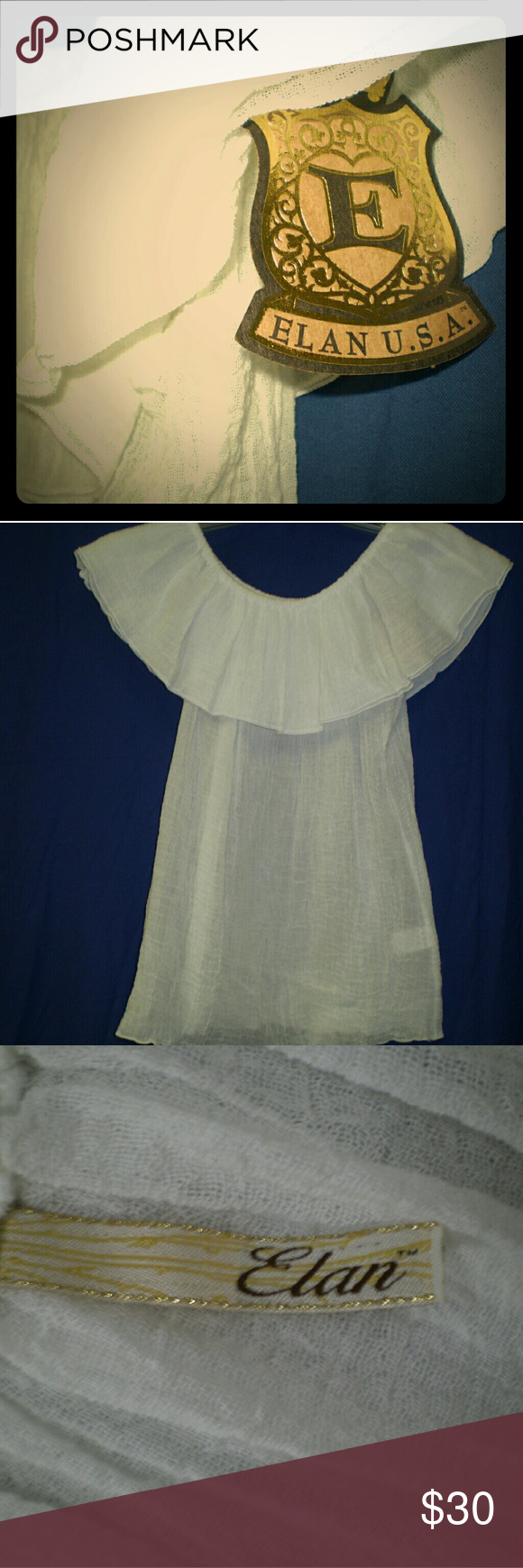 Elan USA off the shoulder blouse Beautiful Elam USA off the shoulder, light blouse.  Purchased new, never wore it.  It is see through, and stretchy, could fit a number of sizes.   Great beach top to pair with any breezy outfit. Elan Tops Blouses
