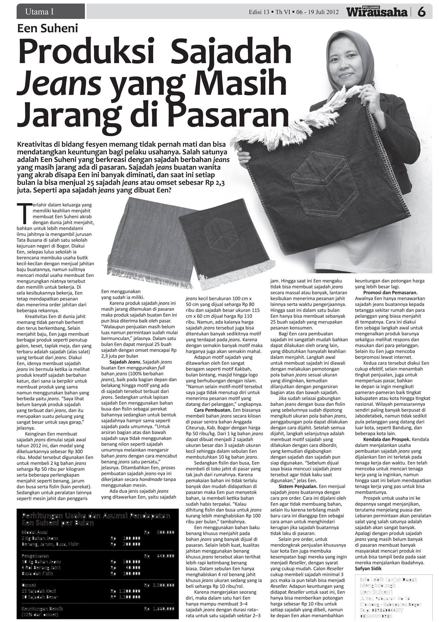 Sajadah Jeans Sebuah Produk Inovasi Sajadah Dengan Menggunakan