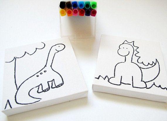 DIY kids mini canvas coloring kit- dinosaur children canvas kit ...