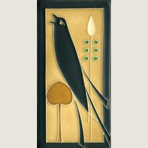 """Motawi art tile, 4x8 """"songbird"""" with its mirror companion would be great in a backsplash.  Though it's very Art Nouveau, so it would depend on a lot of things."""