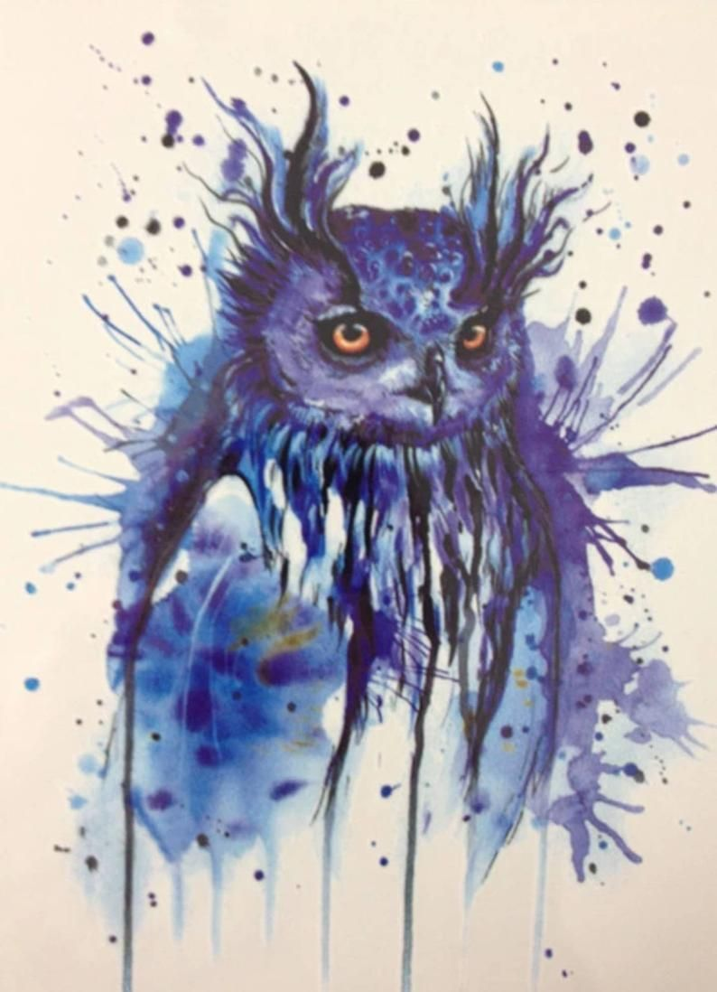Photo of BLUE OWL #2 temporary tattoo – Homemade Tattoo 2020
