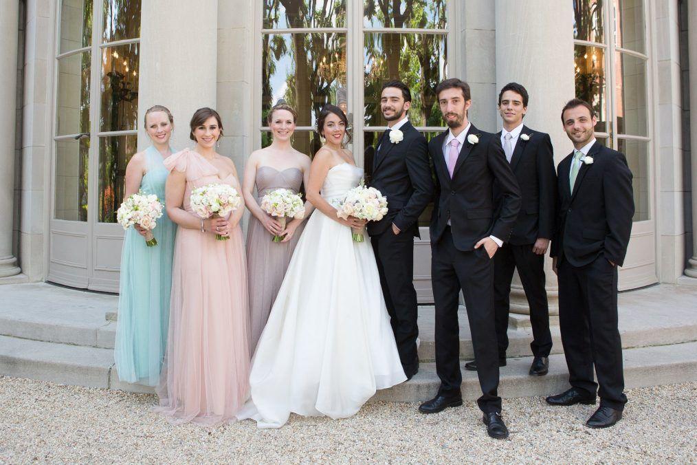 fdaff517bf02 spring wedding Meridian House Washington DC mismatched pastel bridesmaid  dresses
