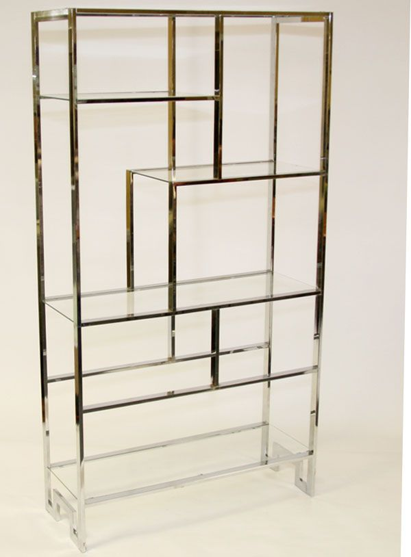 Wonderful Milo Baughman For Thayer Coggin Etagere / Modern Shelving Unit; Chromed  Steel With Glass Shelves Photo Gallery