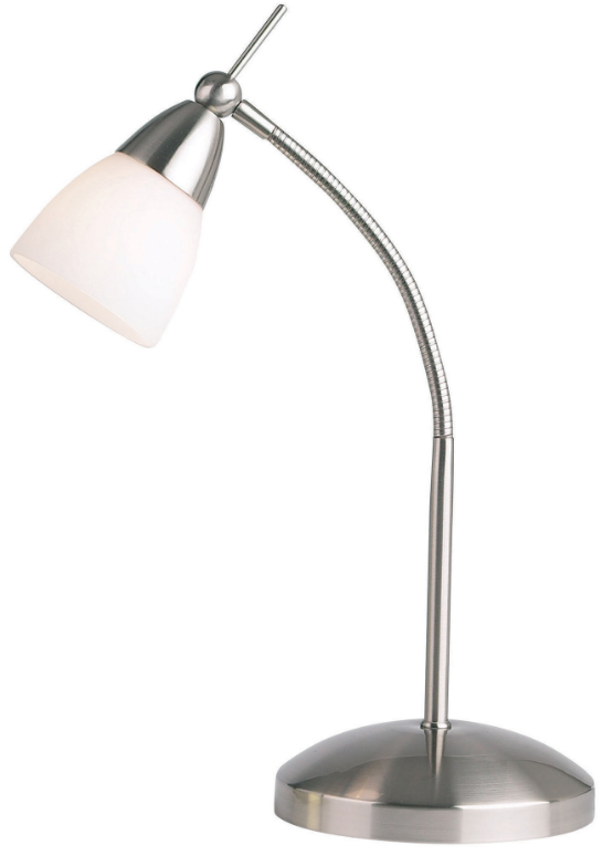 A Task Table Lamp With A Satin Chrome Finish And An Opal Glass