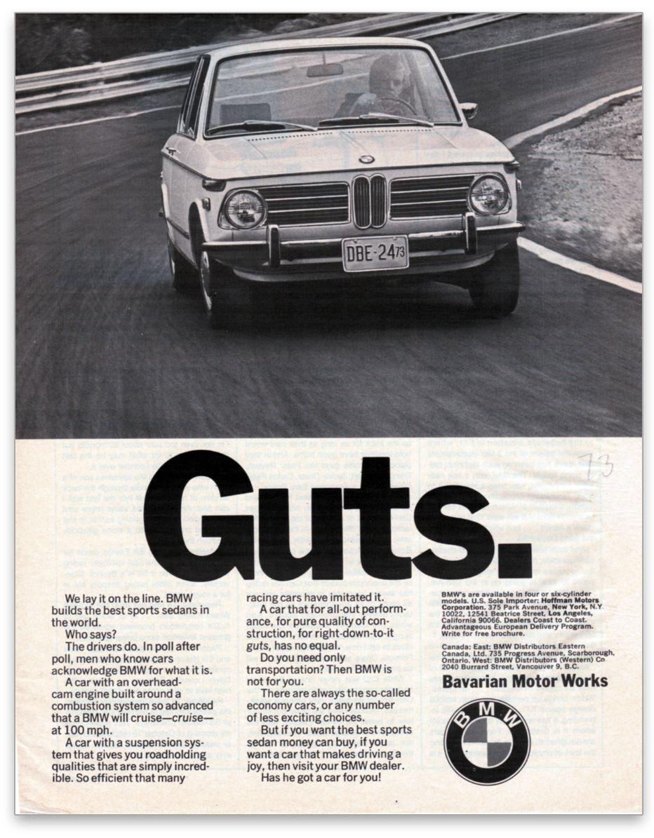 1973 bmw 2002 guts ad
