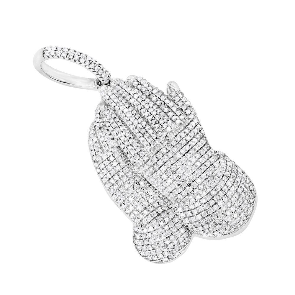 10k Gold Diamond Praying Hands Pendant 1 5ct Yellow Rose Or White Gold Women Diamond Jewelry Luxury Diamonds