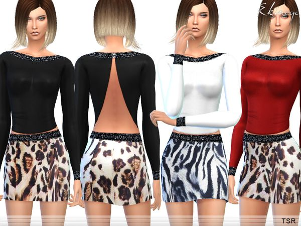 The Sims Resource: Open Back Top & Animal Print Skirt - Set10 by Ekinege • Sims 4 Downloads
