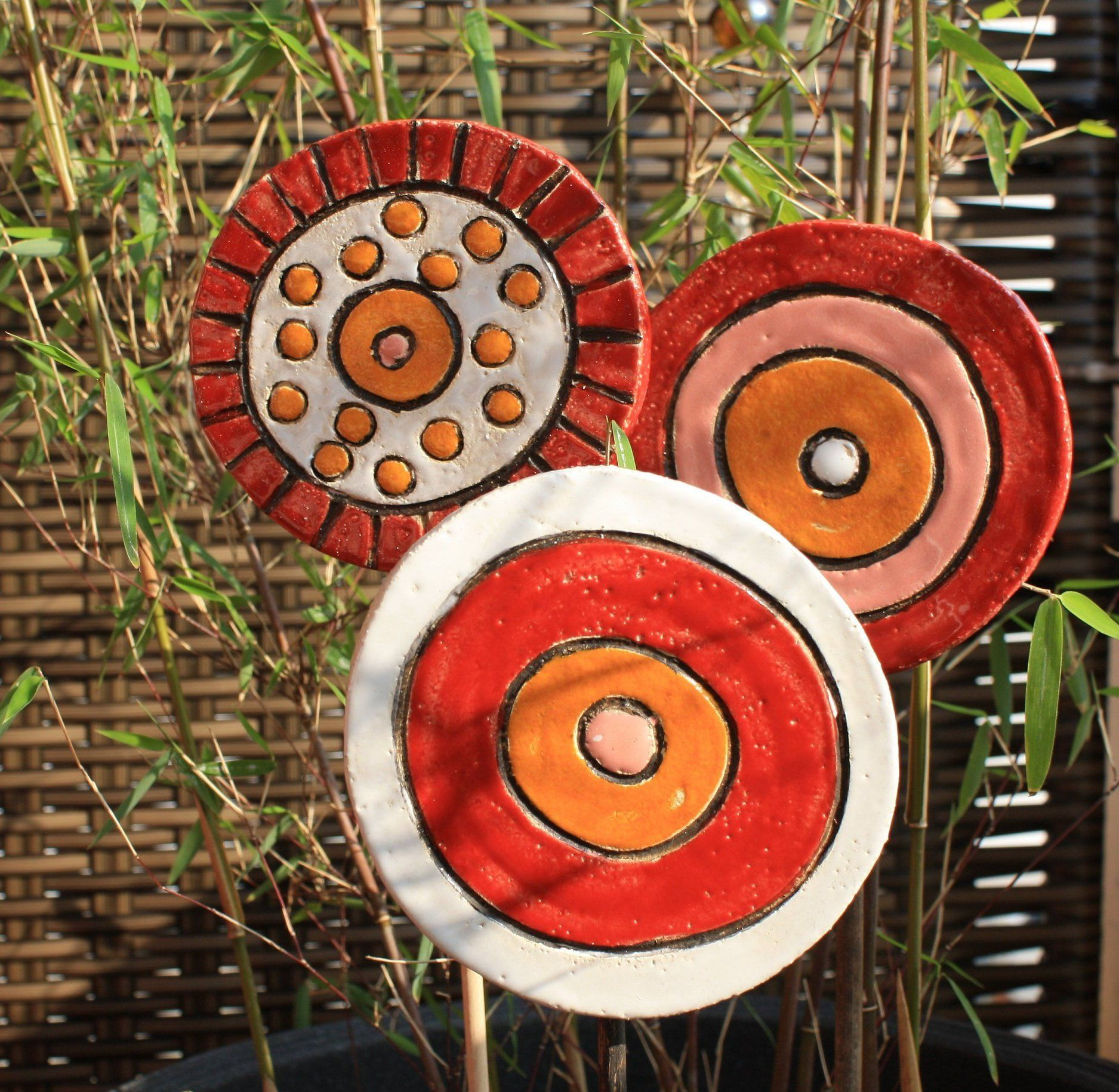 Beetstecker Keramik Gartendeko Gartenkeramik Spirale Rot Ceramics Projects Diy Holder Colorful Ceramics