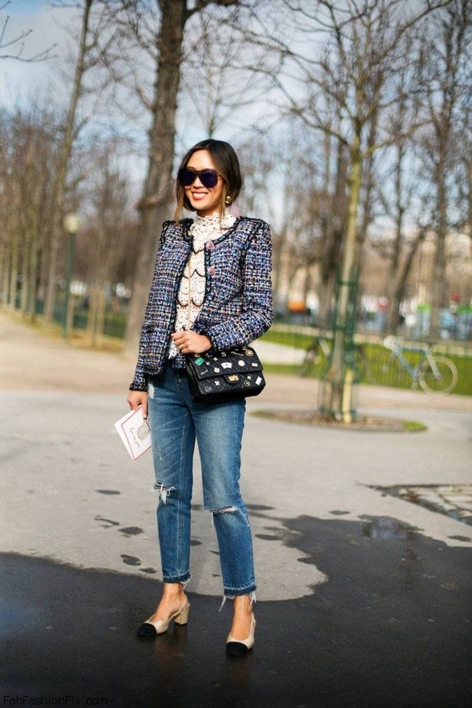 b570b373163 Aimee Song from Song of Style blog spotted wearing Chanel jacket and ripped  jeans during Paris fashion week (Marach 2016). #pfw #chanel