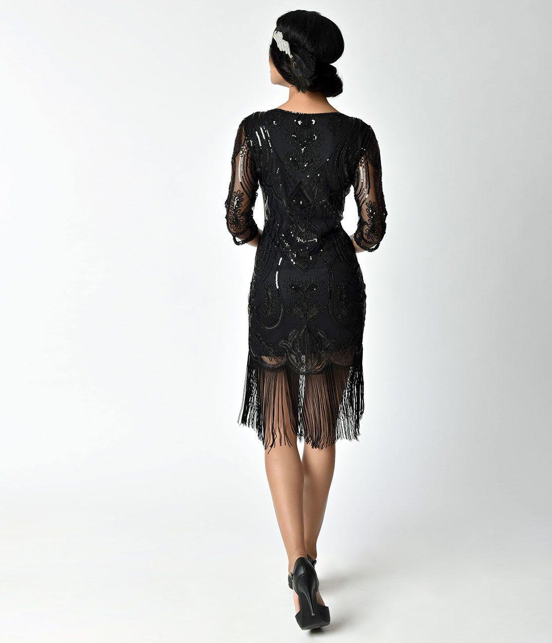 Unique Vintage 1920s Black Sequin Fringe Del Mar Flapper Dress Black Flapper Dress 1920s Fashion Women Fringe Flapper Dress [ 1275 x 1095 Pixel ]