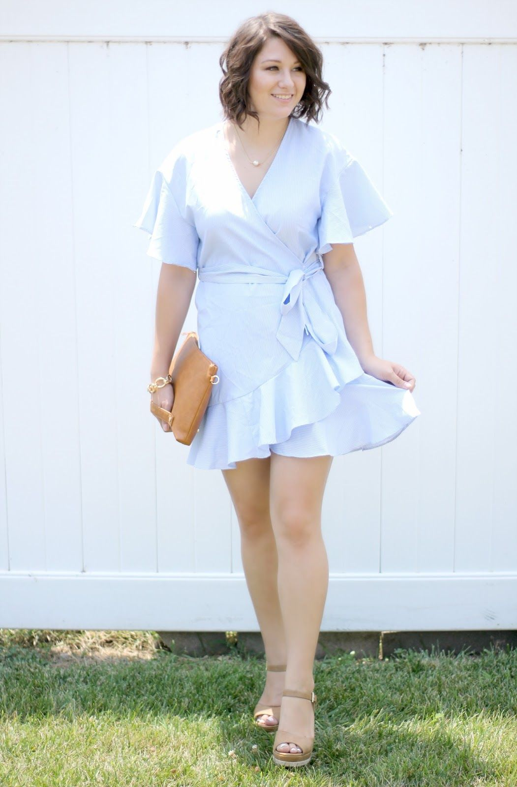 628906a54a This gorgeous striped Light Blue Ruffle Wrap Dress is a summertime must  have! I love