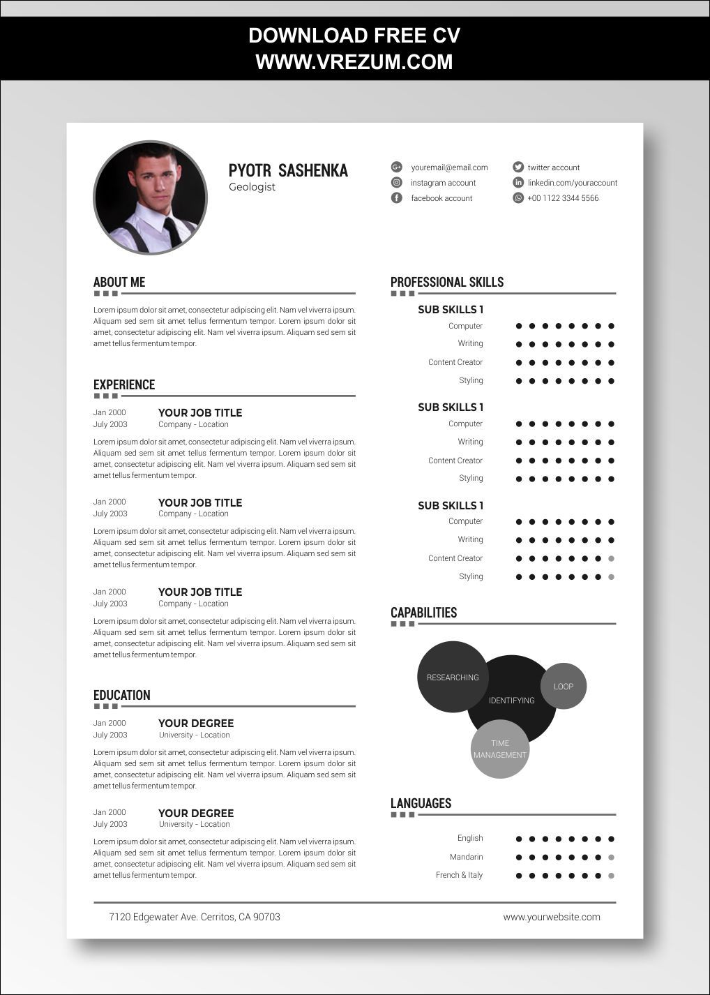 (EDITABLE) - FREE CV Templates For Geologist in 2020 (With images) | Cv template free, Cv ...