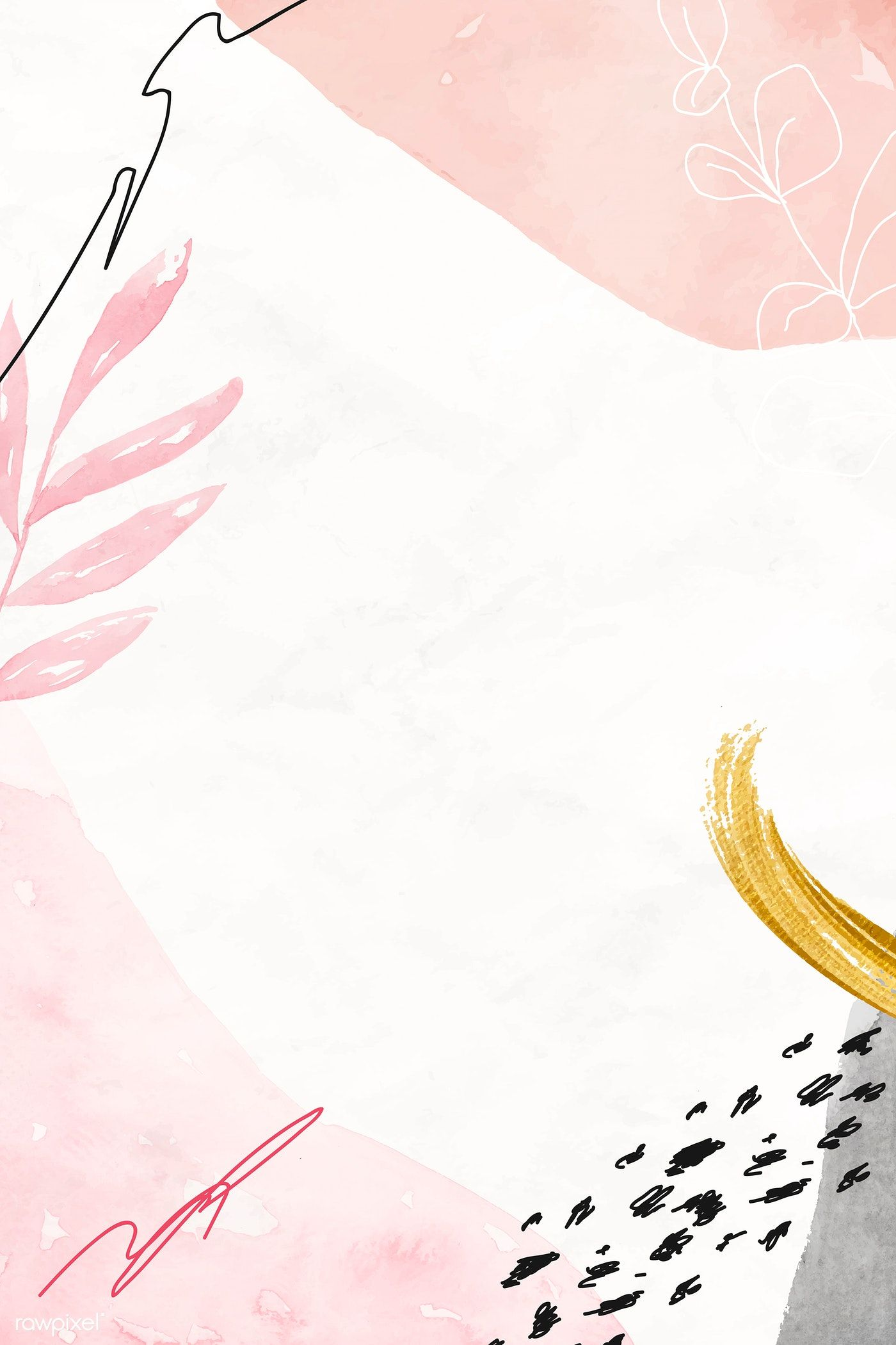 Download premium vector of Pink watercolor floral