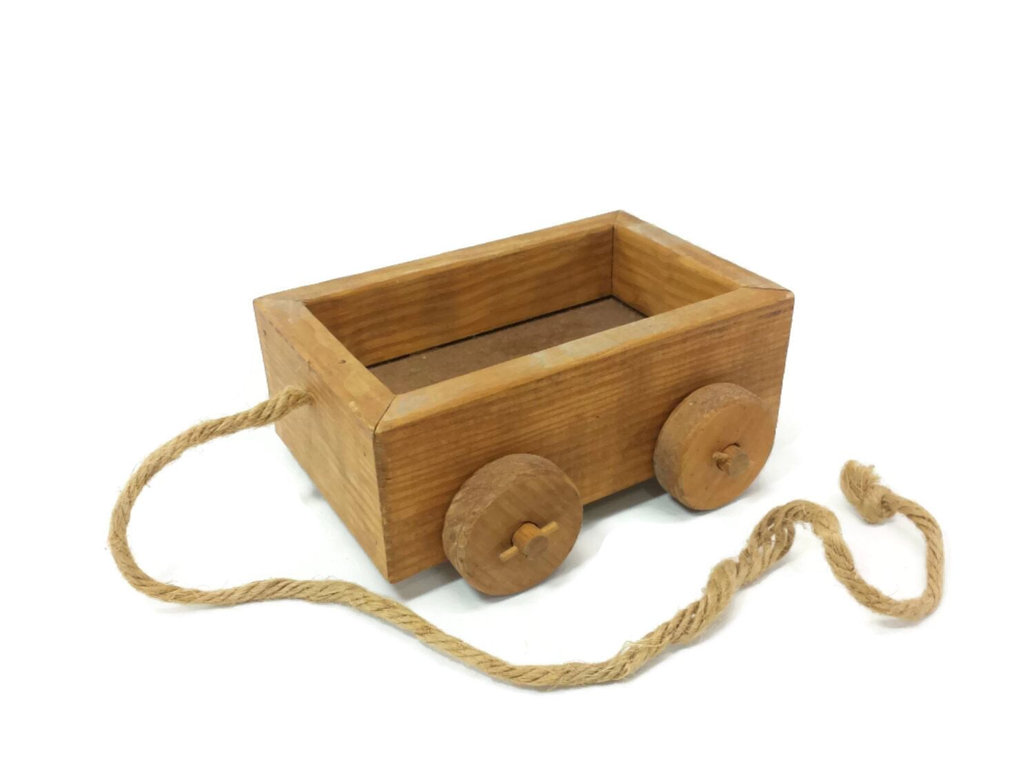 small pull cart vintage childs wood wagon toy planter country