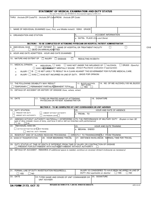 The Latest Fillable Version Of Da Form 2173 Instructions For Statement Of Medical Examination Da Forms Army Medical Examination Medical Alcohol Is A Drug