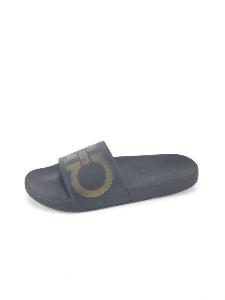 e2c198bdd3bd 67 Salvatore Ferragamo Groove 2 Blk Gold Rubber Pool Slide Sandal Men Sz 10  M  fashion  clothing  shoes  accessories  mensshoes  sandals (ebay link)