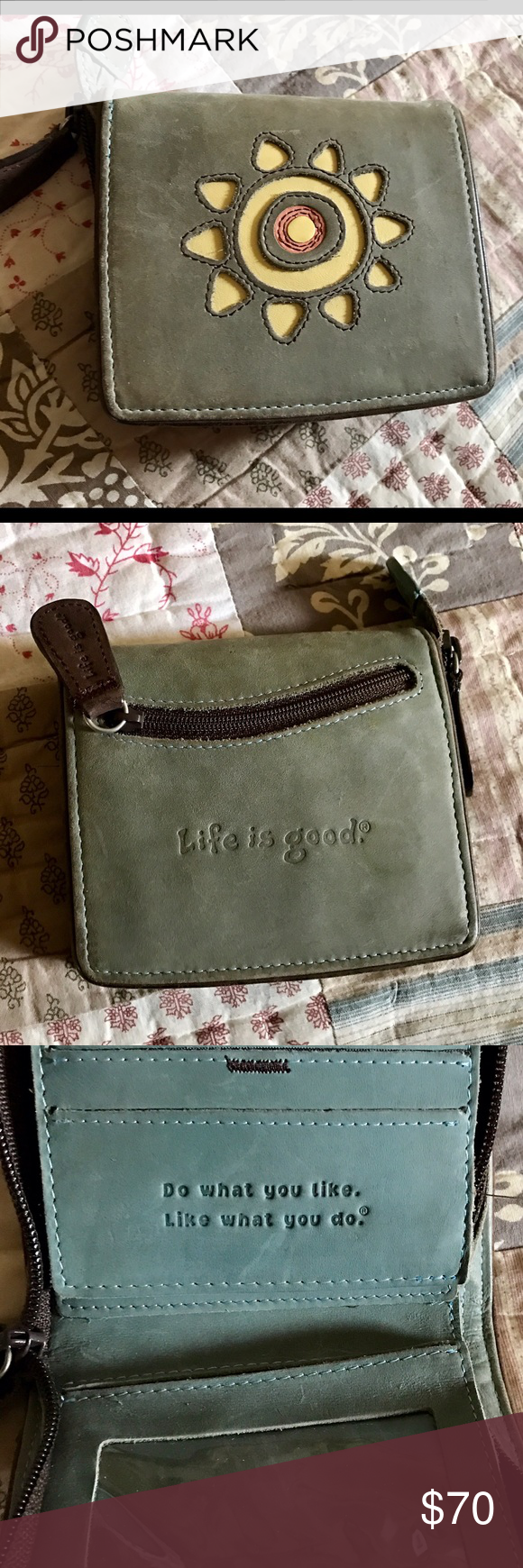 Life is good wallet Cute handcrafted leather wallet with